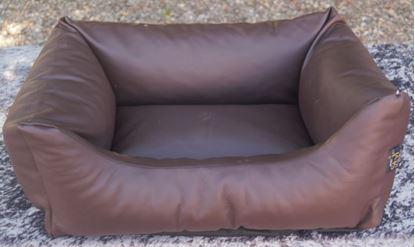 Billede af Hundesofa brun skind 60x44x23 cm